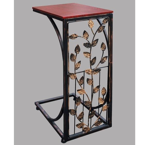 Sofa Side End Tables Small Metal Leaf Design W Dark