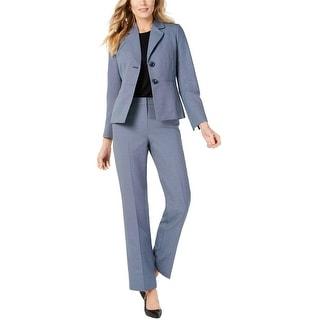 Le Suit Womens Two-Button Pant Suit, blue, 4