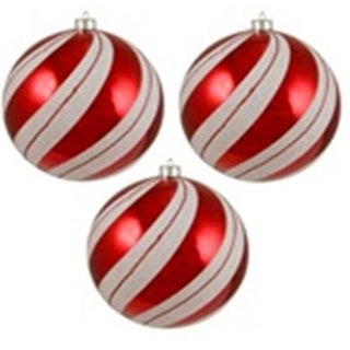 """3ct Peppermint Twist Shatterproof White & Red Swirled Christmas Ornaments 4.75"""" (120mm)"""