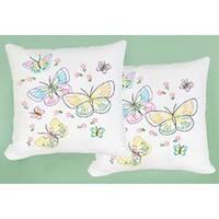 """Fluttering Butterflies - Stamped White Pillowtops 15""""X15"""" 2/Pkg"""