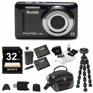 Kodak PIXPRO Friendly Zoom FZ53 (Black) , 2 EXTRA Wasabi Batteries + 32GB Bundle
