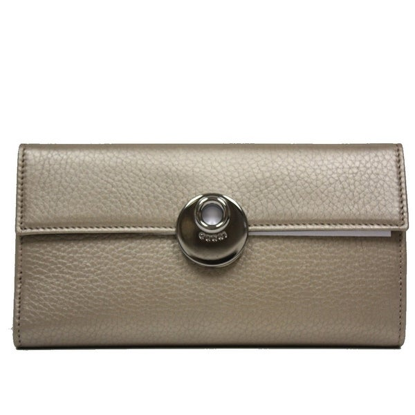 323c696acfd9 Gucci Women's Light Gold Leather Continental Flap Wallet 231835 9504 -  One