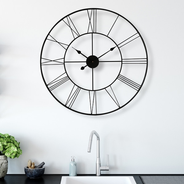 "Walplus Minimalist Slim Iron Wall Clock 30"" Decoration Decor Wall Art. Opens flyout."