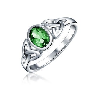 Bling Jewelry Sterling Silver Imitation Emerald Glass Celtic Triquetra Ring - Green