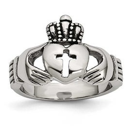Stainless Steel Polished Antiqued Claddagh with Cross Ring (4 mm) - Sizes 5 - 13