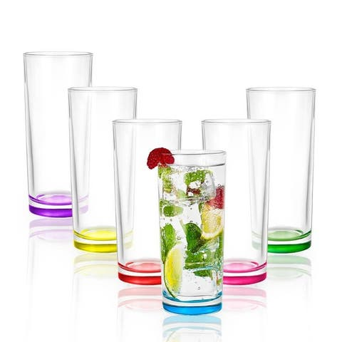 JoyJolt Colored Highball Glasses 11.5 oz Set of 6