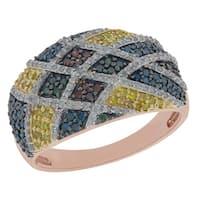 Prism Jewel 1.03 TCW Multi Color Diamond & White Diamond Criss-Cross Ring
