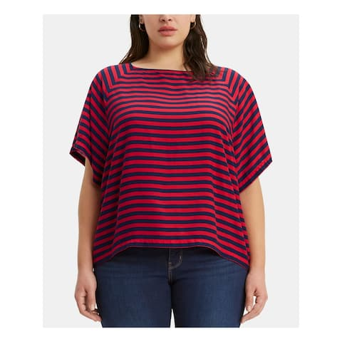 LEVI'S Womens Red Striped Short Sleeve Crew Neck Top Size 3X