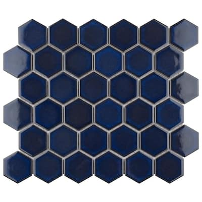 "SomerTile Tribeca Hex 2"" Glossy Cobalt 12 .63""x 11.13"" Porcelain Mosaic Tile"