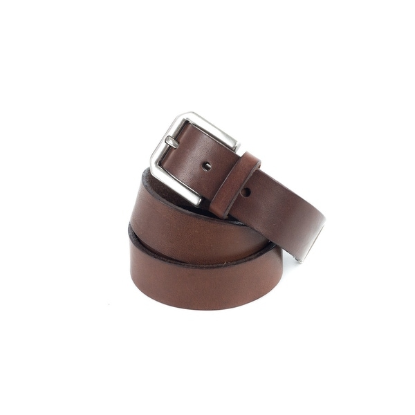 Brunello Cucinelli Brown Leather Wide Strap Silver End-Tip Belt