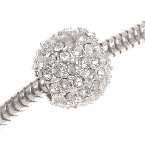 Beadelle Crystal 12mm Round Pave Large Hole Bead - Silver Plated / Crystal (1)