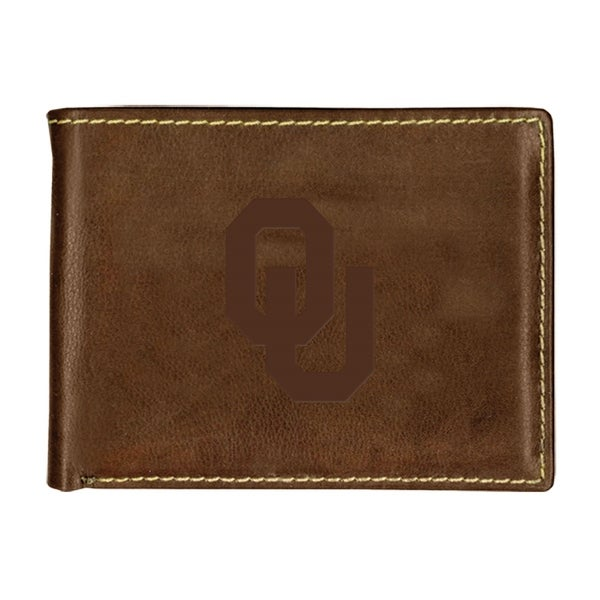 University of Oklahoma Contrast Stitch Bifold Leather Wallet