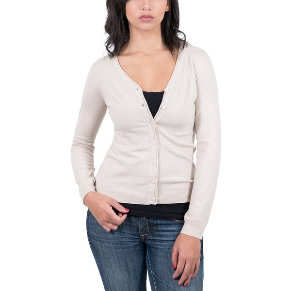 Real Cashmere Beige V-Neck Cardigan Womens Sweater