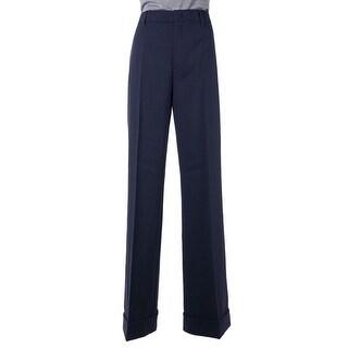 Prada Womens Solid Blue Pleated Wool Blend Cuffed Wide Leg Pants