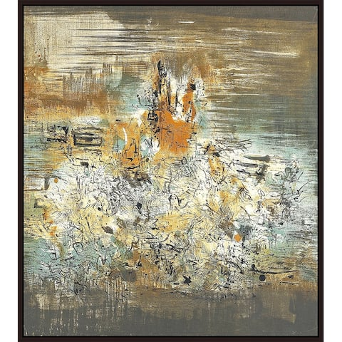 """Texts by Zao Wou-Ki Giclee Print Oil Painting Cherry Brown Frame Size 12"""" x 13"""""""