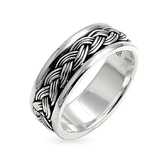 Link to Mens Wheat Rope Braid Cable Band Ring Beveled Edge 925 Sterling Silver Similar Items in Men's Jewelry