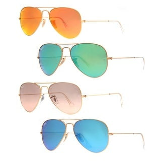 Ray Ban RB 3025 Mirrored Flash Lens Unisex Aviator Sunglasses