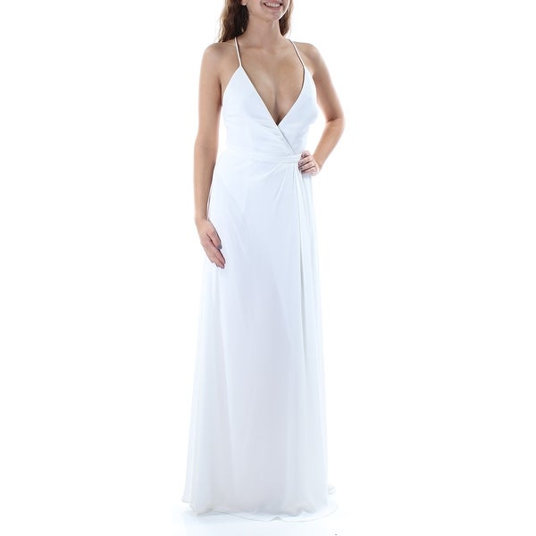 Shop FAME AND PARTNERS Womens White Backless Strappy Spaghetti Strap V Neck  Full Length Pencil Wedding Dress Size  0 - Free Shipping On Orders Over  45  ... 4f6cdf7ccc