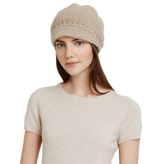 Aqua Ladies Taupe Knit Visor Cap One Size Made In Italy