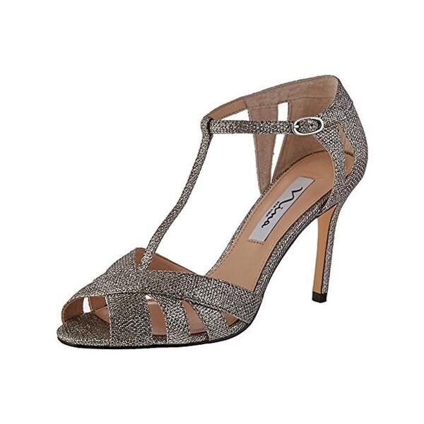 Nina Womens Ricarda Peep-Toe Heels Metallic T-Strap