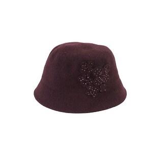 Nine West Burgundy Flowered Beaded Wool Knit Brim Hat OS
