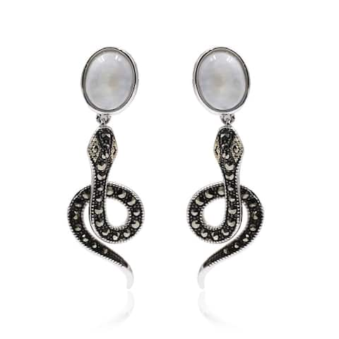 14K Gold & Strling Sillver with Moonstone, Marcasite Earrings