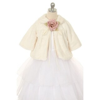 Kids Dream Ivory Faux Fur Special Occasion Half Coat Girls 4-10