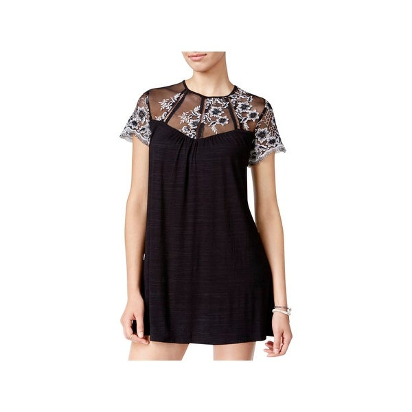 eff40328c78fb Trixxi Womens Juniors Mini Dress Embroidered Mesh Yoke - XS