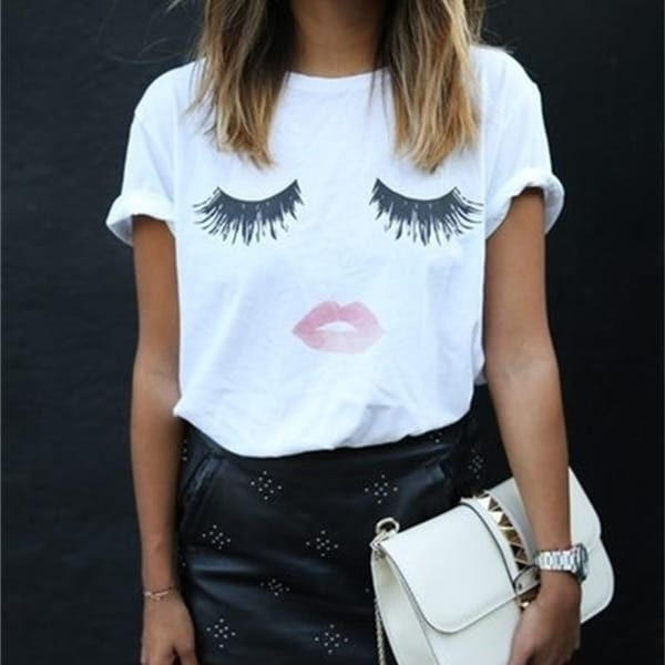 77226de4bfd Summer Short Sleeve Women T-Shirt Eye lashes red lips Print Elegant T Shirt  Women