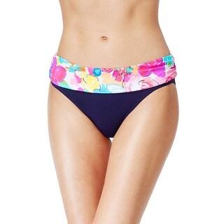 Anne Cole Signature Womens Floral Foldover Bikini Bottom Navy Blue Large L