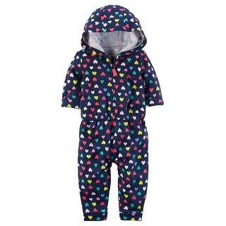 Carter's Baby Girls' Heart Hooded Jumpsuit, 18 Months - Navy