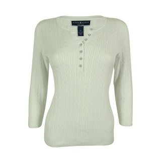 Karen Scott Women's Cable Knit Henley Sweater