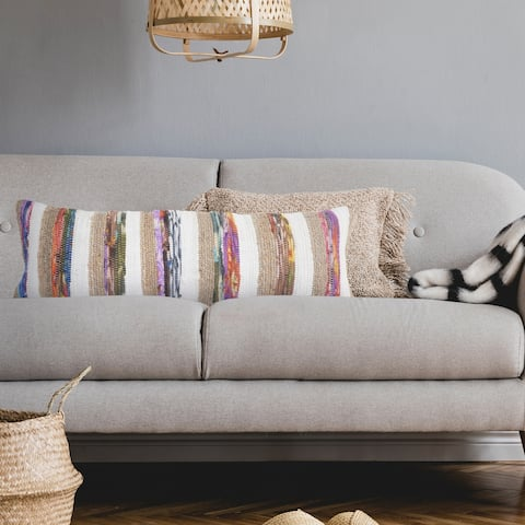 White and Multicolored Chindi with Natural Jute Striped Throw Pillow