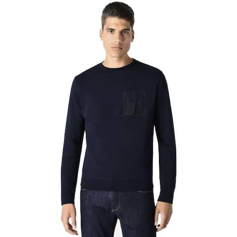 Emporio Armani Mens Logo Sweatshirt Small Dark Blue