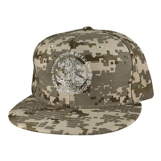 Mexico Seal Flag Flat Bill Snapback Hat Cap by Caprobot - Digital Desert Beige Camo White