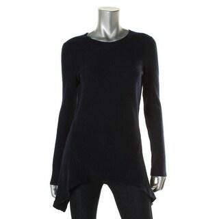 Aqua Womens Handkerchief Hem Cashmere Pullover Sweater - M