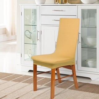 Unique Bargains Washable Spandex Stretch Dark Yellow Dining Chair Cover