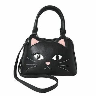 Women's Black Cat Vinyl Handbag Purse - Handle And Shoulder Strap