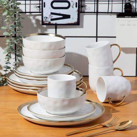 Aura 16-Piece Porcelain Dinnerware Set