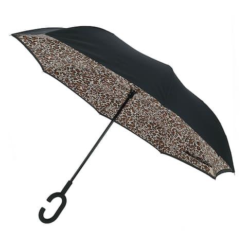 ShedRain Women's UnbelievaBrella Reverse Closing Leopard Print Stick Umbrella - one size