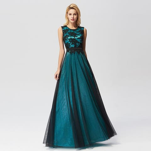 2dc64ebd346 Ever-Pretty Women s A-Line Lace Tulle Prom Party Bridesmaid Maxi Dress 07545