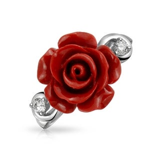 Link to CZ Accent Flower Red Craved Rose Statement Ring 925 Sterling Silver Similar Items in Rings