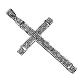 0.4cttw Real Diamond Cross Pendant 45mm Tall Mens Pendant By MidwestJewellery - White
