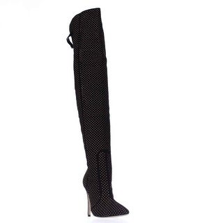 Alice and Olivia Dionera Studded Over The Knee Boots, Black - 8 us / 38 eu