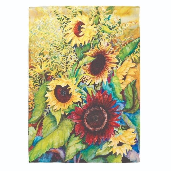 """Yellow and Green Sunflowers Printed Outdoor Garden Flag 18"""" x 13"""" - N/A"""