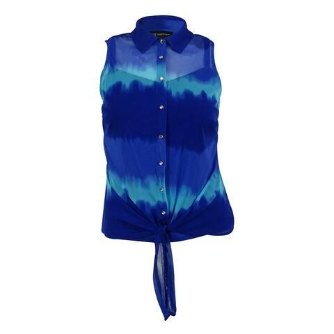 INC International Concepts Women's Sleeveless Button Down Top - Tie Dye