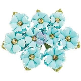 Prima Marketing Fabric Flowers W/Beads & Flocking 9/Pkg-Boreal