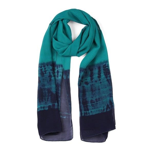 Long Chiffon Lightweight Gradient Color Scarf For Women Green-1
