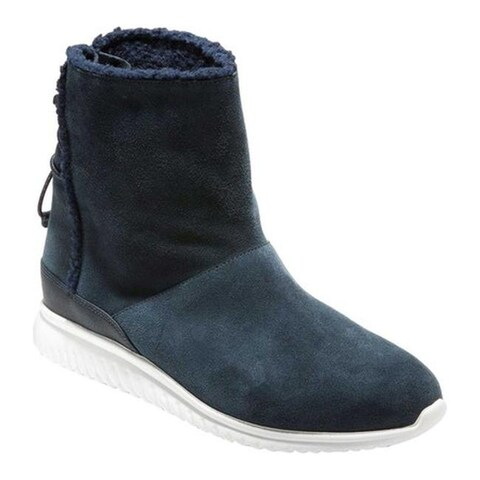 Cole Haan Women's StudioGrand Waterproof Pull On Boot Blueberry Suede/Faux Shearling/Optic White
