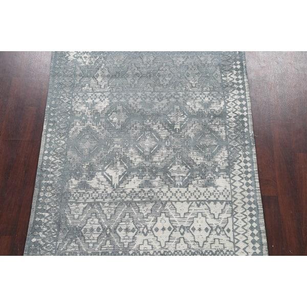 Modern Wool Silk Highlight Distressed Oriental Area Rug Hand Tufted 5 2 X 7 4 On Sale Overstock 32650030